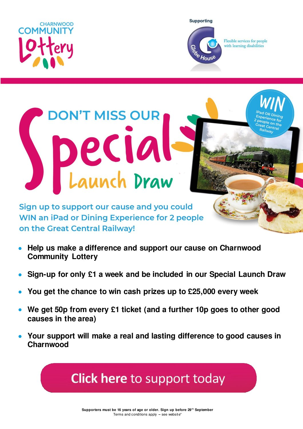 Don't miss Charnwood's Special Launch Draw
