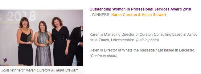 Outstanding Woman in Professional Services Award 2018