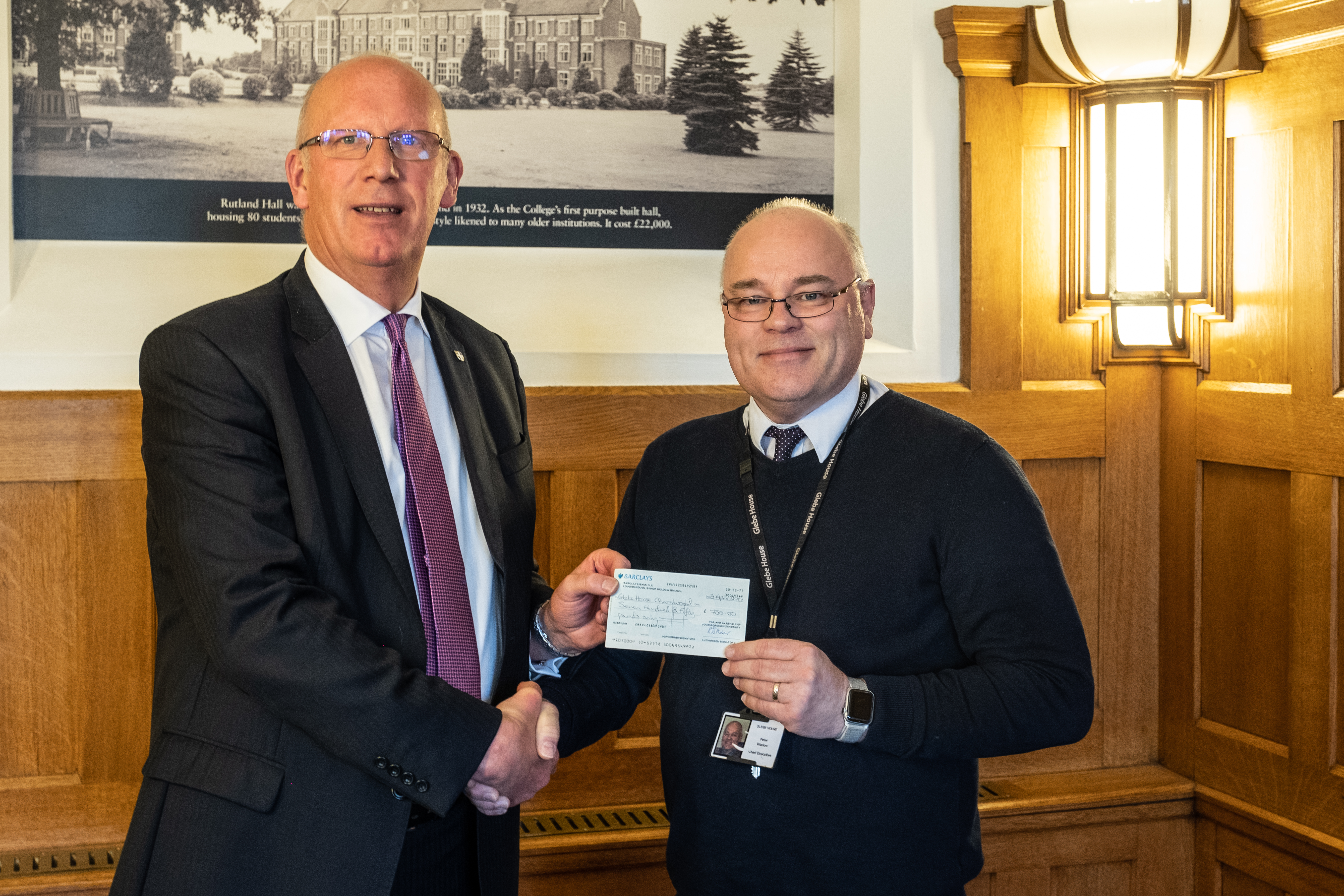 Glebe House Receives Cheque for £750