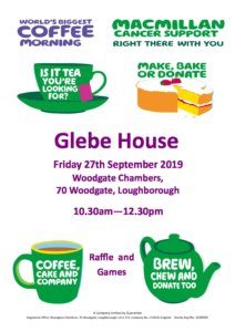 Macmillan Coffee Morning 2019 Poster Glebe House