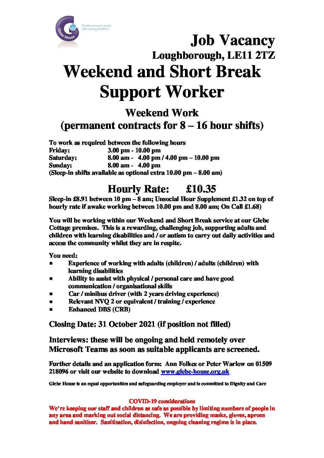 Weekend and Short Break Support Worker